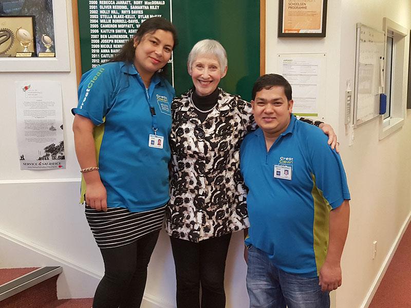 Wellington franchisees Harikala, left and Naran Khatri with Wadestown School Principal Sally Barrett.
