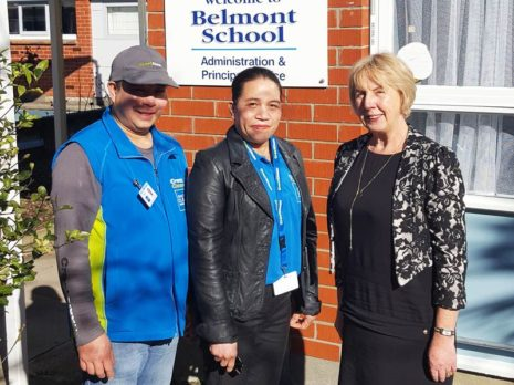 Chalking up a big tick of approval are Helen and Greg Caingcoy, seen here with Belmont School Principal Robin Thomson.