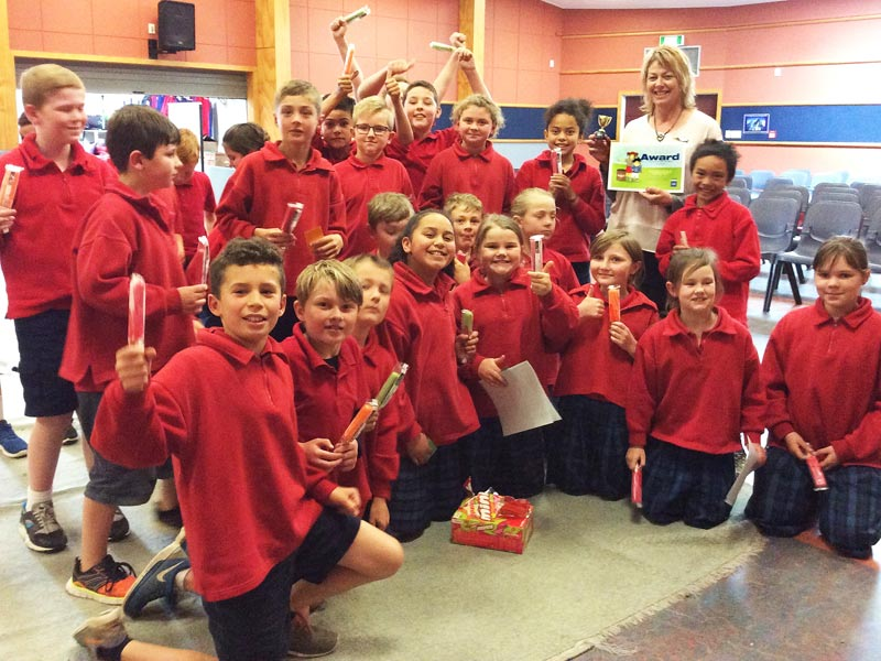 Shirley Keaton, a teacher at Rosebank School, with the winning Room 7 students.