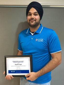 Rotorua franchisee Joe Singh with his certificate.