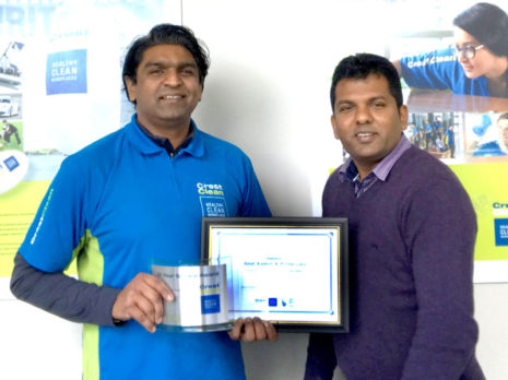 Amit Kumar receives his Certificate of Long service from Viky Narayan, CrestClean's South and East Auckland Regional Manager.