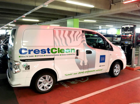 Charging is a doddle as this CrestClean e-NV200 stops for a power top up at Tauranga's Bayfair Shopping Centre.