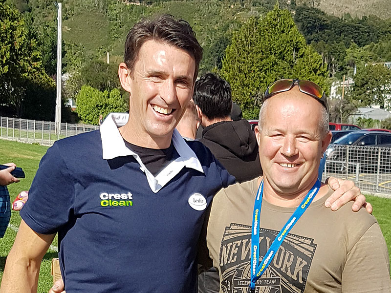 Dave Coupe with John Leslie at a coaching event in Upper Hutt on Saturday.