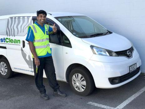 Simis James with his Nissan NV200 van.
