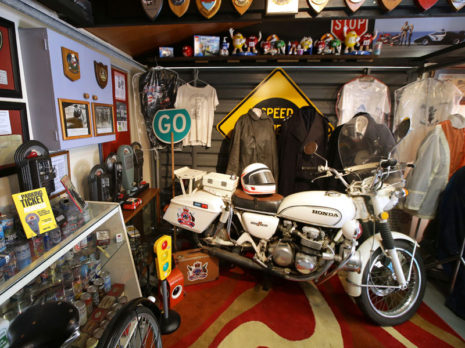 A Honda 1975 CB500P motorcycle, part of the memorabilia on display. Photo: ROBYN EDIE/STUFF