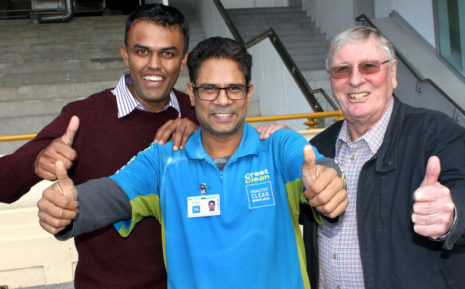 Sanjay Patel, who won $10,000 gross turnover for his business, with Neil Kumar, North Harbour Regional Manager, and CrestClean chairman of Directors Marty Perkinson.