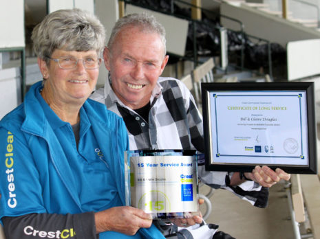 Claire and Bill Douglas with their 15 Year Service Award. The couple were the first CrestClean franchisees in Rotorua when they started their business in 2003.