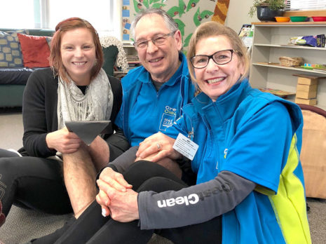 Joeline Jones with CrestClean's Colin and Linda Bartlett.