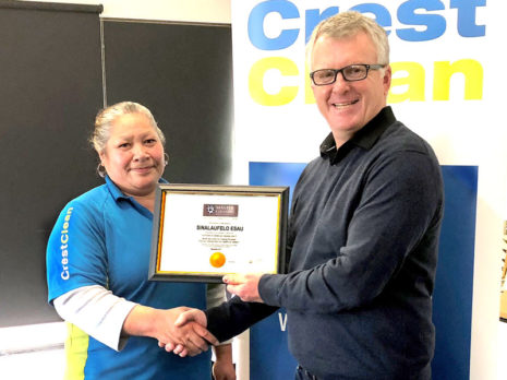 Sina Esau receives a Certificate in Commercial Cleaning Level 2 from Grant McLauchlan, Crest's Managing Director. Sina Esau receives a Certificate in Commercial Cleaning Level 2 from Grant McLauchlan, Crest's Managing Director.