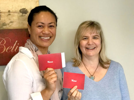 Norah Greyling, Admin Manager at Manukau City Baptist Church, with Denise Snook, who is in charge of the children's ministry.