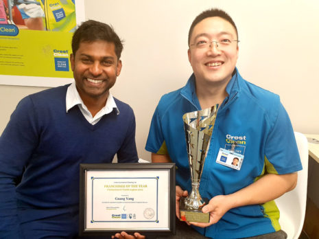 Sunny Yang with Yasa Panagoda, CrestClean's Christchurch North Regional Manager.