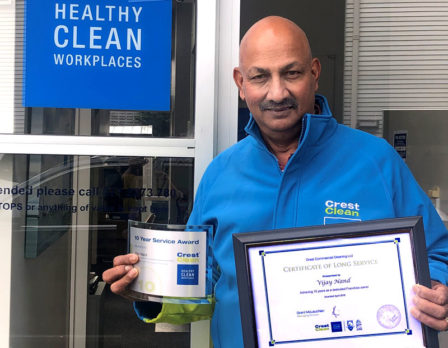 Vijay Nand is proud to receive his long service award.
