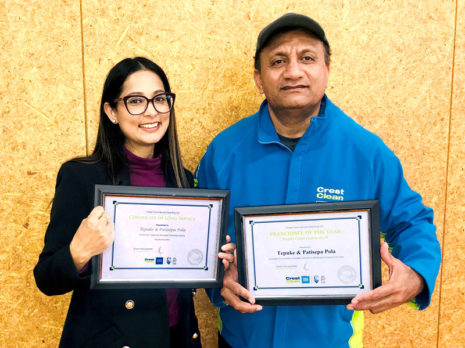 Tepuke Pola receives his award from Shareen Raj, CrestClean's Palmerston North / Kapiti Coast Regional Manager.