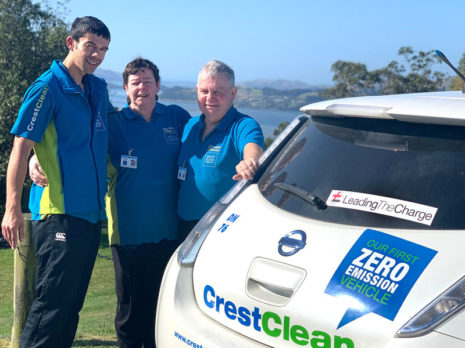 Steve Kannewischer with his wife Lynne and stepson Sam Larkins with their Nissan Leaf.