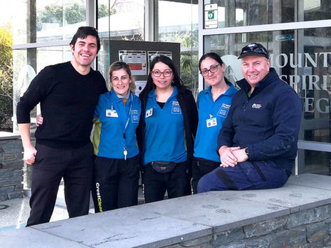 Ronnie Moffat, Property Manager at Mount Aspiring College, says having CrestClean's services has finally given him peace of mind. He is pictured with Danny Mastroianniv(left), Karina Vaccarezza, Claudia Barrientos, and Lorena Mastroianni.