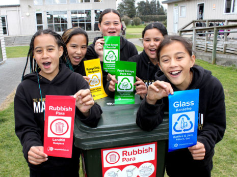 Matapihi School students Enchant'd Quinn, Kataraena Ngawhika-Kerr, Meeah-May Sullivan, Maioha Merritt-McDonald, and Alexis Ngatai.