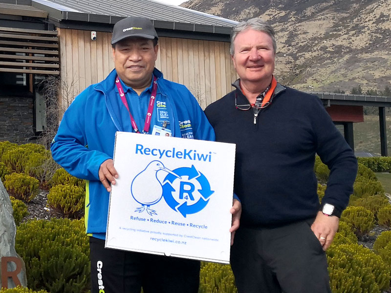 David White, Shotover Primary School Property Manager, with CrestClean's Isamaeli Takitua.