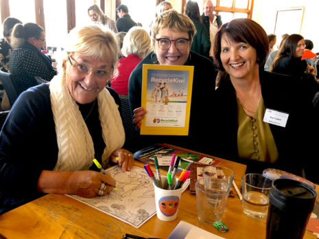 Linda Vane and Sue Cattell, from Milford School, with CrestClean's Caroline Wedding.