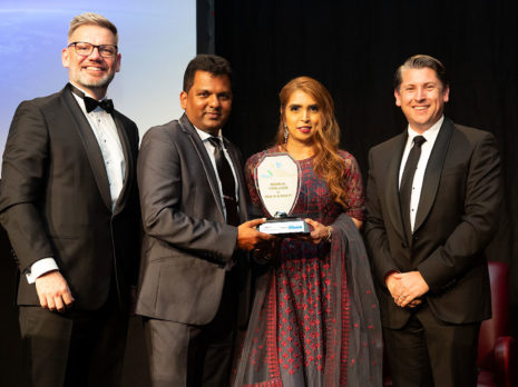 Viky and Nileshna Narayan receive their award from Iain Lees-Galloway, (left) Minister for Workplace Relations & Safety and Immigration. Also pictured is Michael Wood, Chief Government Whip.
