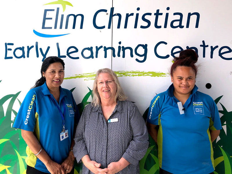 The CrestClean team of Mohini Singh and Teruma Hauraki with Elim Christian Early Learning Centre Manager Catherine McCormick.