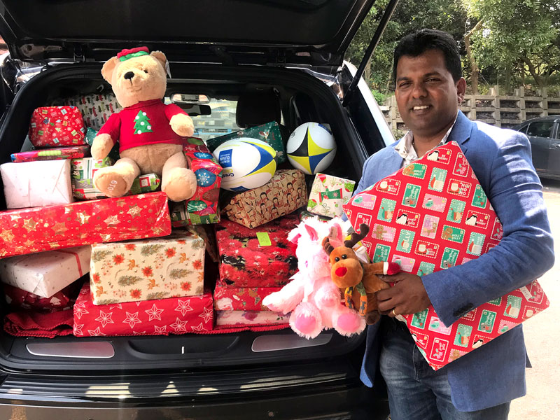 Viky Narayan was overwhelmed at the number of gifts donated by his franchisees.