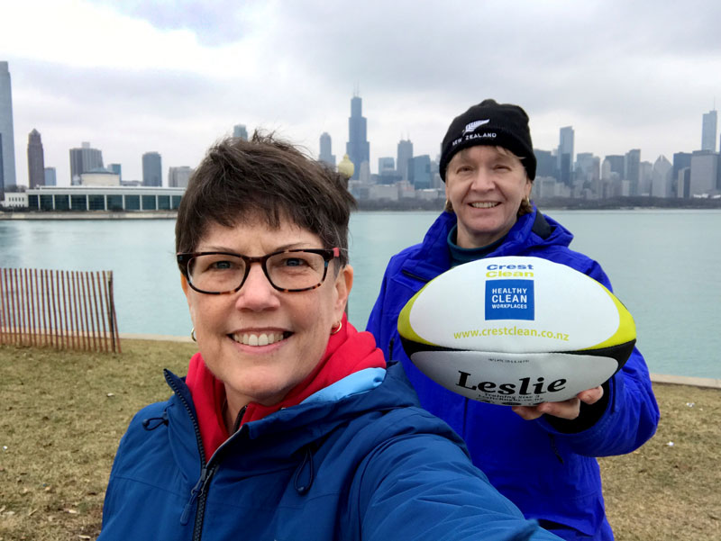 Sister Laurie Brink, Professor of New Testament Studies at the Catholic Theological Union in Chicago, and Sister Betsy Pawlicki, who is on the leadership council for the Dominican Sisters of Sinsinawa. The pair are seen back in Chicago with the rugby balls from CrestClean.