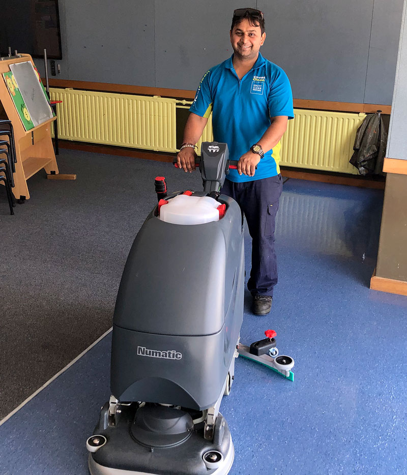 Sandeep Kumar is delighted with his battery-powered scrubbing machine.