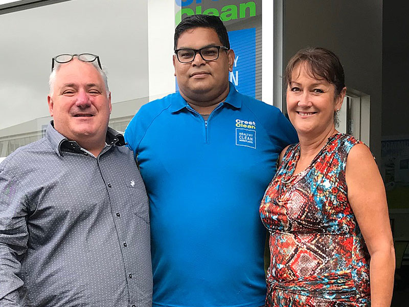 Rohit Sharma with Linda Hill, CrestClean's Auckland East Regional Manager and Dries Mangnus, Auckland Central Regional Manager.