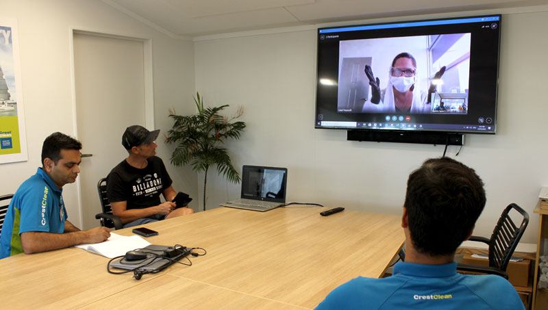 CrestClean franchisees in Tauranga watching the online training presentation.