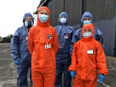 Full personal protective equipment was worn for the duration of the sanitising clean.