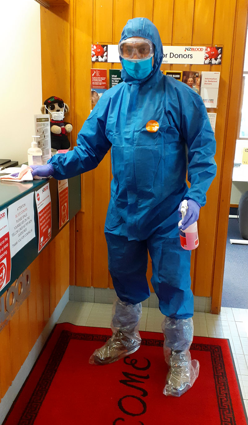 Lipson carries out regular sanitising cleans when people come along to donate blood.