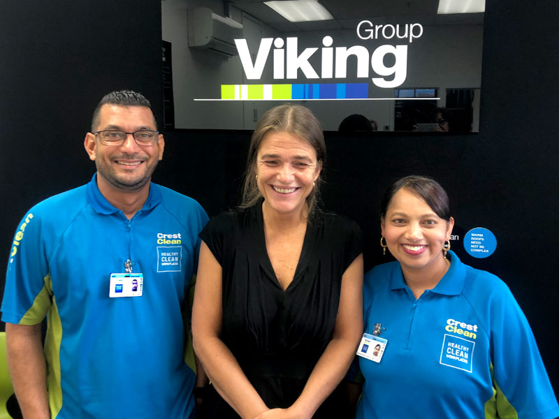 Sheik Saheb and Farzana Saheb with a member of staff at the Viking Group.