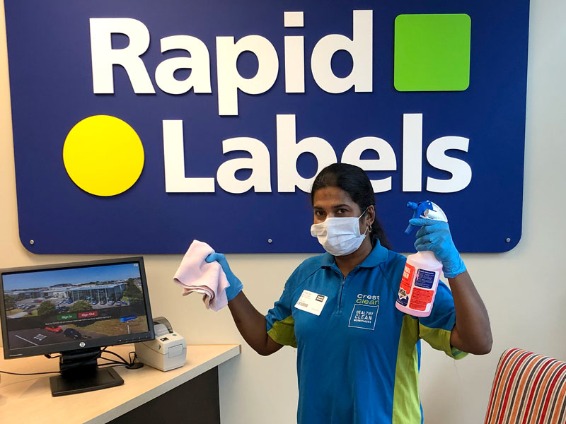 Sunita Dutt has been providing extra cleaning and sanitising at Rapid Labels.