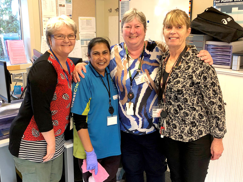 CrestClean's Rose Kumar with New Zealand Blood Service personnel Robyn Millett, Dianne Salmon and Sandra Greenland.