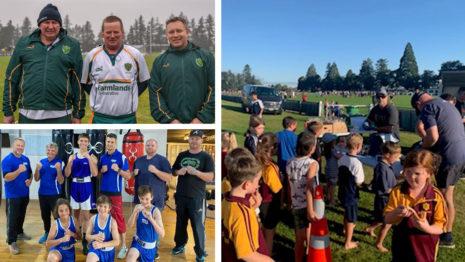 Volunteers at kids' sport.