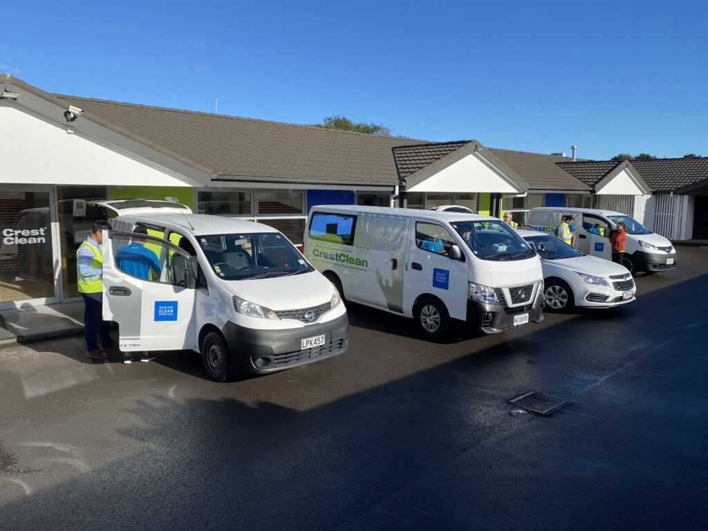 Row of cleaning vehicles.